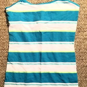 Teal, green, white striped spaghetti strap tank